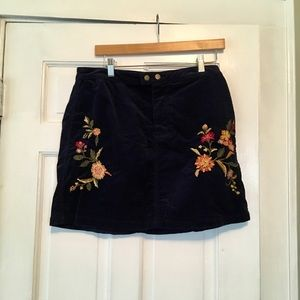Navy Blue Corduroy Embroidered Skirt